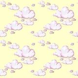 Waterverftekening, roze wolken, naadloos patroon, achtergrond Stock Afbeeldingen