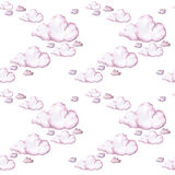 Waterverftekening, roze wolken, naadloos patroon, achtergrond Royalty-vrije Stock Fotografie