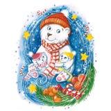Waterverftekening van de ijsbeer van een Nieuwjaar met kinderen, in warme kleurrijke hoeden, met een Kerstboom, sinaasappelen en  stock afbeelding