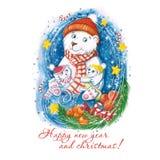Waterverftekening van de ijsbeer van een Nieuwjaar met kinderen, in warme kleurrijke hoeden, met een Kerstboom, sinaasappelen en  royalty-vrije stock fotografie