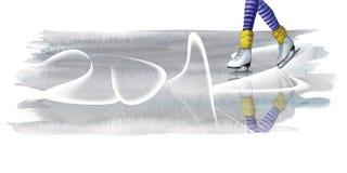 waterverftekening van een been in witte vleten op ijs, sporten, het ski?en, de winter, voor een prentbriefkaar met een nieuw jaar Stock Fotografie