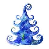 Waterverftekening van een Kerstmisboom van de beeldverhaalbaby met sneeuw, sneeuw en sneeuwvlokken, een Kerstboom in blauw op een Royalty-vrije Stock Foto's