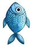Waterverftekening van vissen, blauwe, blauwe vissen, in de stijl van kinderen` s tekening Royalty-vrije Stock Foto