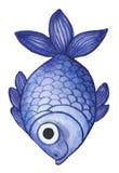 Waterverftekening van vissen, purpere, lilac vissen, in de stijl van kinderen` s tekening Stock Afbeeldingen