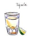 Waterverftequila met kalk Stock Foto