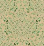 Waterverftwijgen met bladeren op kraftpapier-document Met de hand geschilderd naadloos patroon Royalty-vrije Stock Foto's