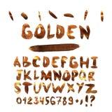 Waterverfvector in gouden stijl Abstract alfabet met brieven gouden kleur Hand getrokken doopvont vector illustratie