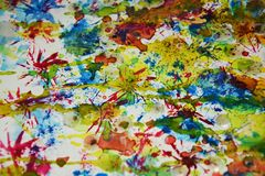 Waterverfverf, de waterverf creatieve achtergrond van de wasverf Stock Afbeeldingen