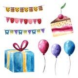 Waterverfverjaardag, vakantie, partijobjecten inzameling stock illustratie