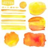 Waterverfvlekken, borstels Gele sinaasappel, De Zon van de zomer stock illustratie