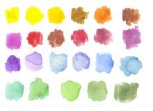 Waterverfvlekken/plonsen op wit worden geïsoleerd dat Hand getrokken illustratie palette stock illustratie