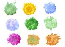 Waterverfvlekken/plonsen op wit worden geïsoleerd dat Hand getrokken illustratie palette vector illustratie