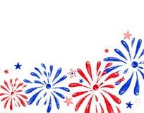 Waterverfvuurwerk het groeten festival, hand geschilderde feestelijke banner voor vakantiegebeurtenissen, herdenkingsdag, Nieuwja stock illustratie