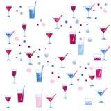 Waterverfwijnglas en van het cocktailglas naadloos patroon op witte achtergrond Stock Foto