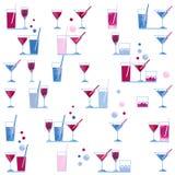 Waterverfwijnglas en van het cocktailglas naadloos patroon op witte achtergrond Stock Afbeeldingen