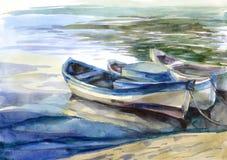 Waterverfzeegezicht met boten Stock Fotografie