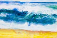 Waterverfzeegezicht schilderen kleurrijk van overzeese mening, strand, golf stock illustratie