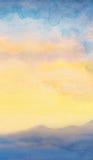 Waterverfzeegezicht Zonsondergang royalty-vrije illustratie