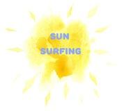 Waterverfzon het Surfen Achtergrond Royalty-vrije Stock Fotografie