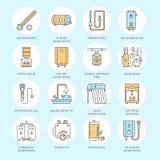 Waterverwarmer, boiler, thermostaat, elektrisch, gas, zonneverwarmers en andere huis het verwarmen pictogrammen van de materiaall royalty-vrije illustratie