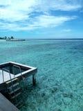 Watervillas在马尔代夫 免版税库存照片