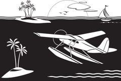 Watervliegtuig die onder eilanden in het overzees vliegen royalty-vrije illustratie