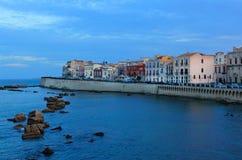 Watervoorzijde, Syracuse, Sicilië, Italië Stock Afbeeldingen