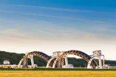 Waterwaterkering in de Rijn dichtbij Driel in Nederland Royalty-vrije Stock Afbeelding