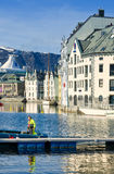 Waterway of Alesund, Norway Stock Images