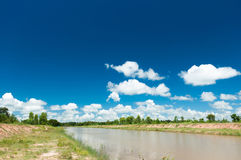 Waterway. Beautiful waterway and Sky Blue stock images