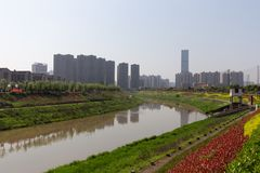 Waterway with buildings behind and flowers stock photography