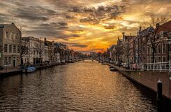 Waterway, Channel, Holland, Homes Royalty Free Stock Photography