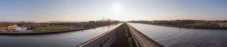 Waterway crossing minden germany high definition panorama Royalty Free Stock Images