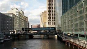 Waterway through downtown Milwaukee, Wisconsin stock footage