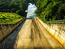 Waterway. This is floodway for water overflow from reservoir Stock Photos
