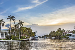 Waterway in Fort Lauderdale. Waterway with luxury homes in Fort Lauderdale Stock Images