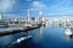 Waterway with Miami, FL skyline Royalty Free Stock Photos