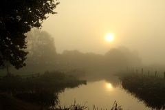 Waterway, Mist, Fog, Sunrise Royalty Free Stock Images