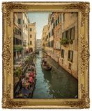Waterway, Painting, Gondola, Picture Frame Stock Photo
