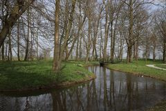 Waterway, Reflection, Water, Tree stock images