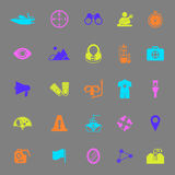 Waterway related color icons on gray background Royalty Free Stock Photos