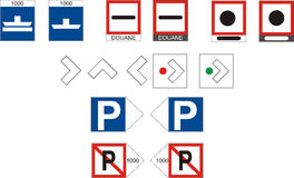 Waterway Signs, Additional. Additional signs for river navigation,  illustration navigation Stock Photos
