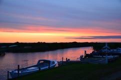 Waterway, Sky, Sunset, Horizon stock images