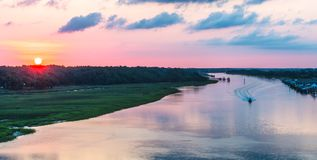 Waterway sunrise view. View from the Ocean isle waterway bridge Stock Photos