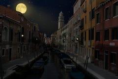 Waterway, Town, Night, Sky Stock Images