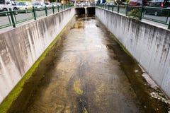 Waterway. Water drain in Marmaris city stock photos