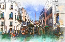Waterway, Water, Gondola, Watercolor Paint Royalty Free Stock Photo