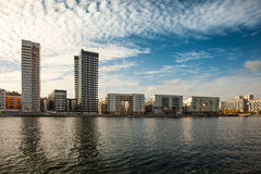 Waterways, boats and beautiful modern buildings in Stockholm, Sweden. Royalty Free Stock Photo