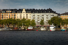 Waterways, boats and beautiful old buildings in Stockholm, Sweden Stock Image