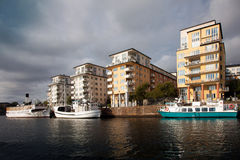 Waterways, boats and beautiful old buildings in Stockholm, Sweden Royalty Free Stock Photos